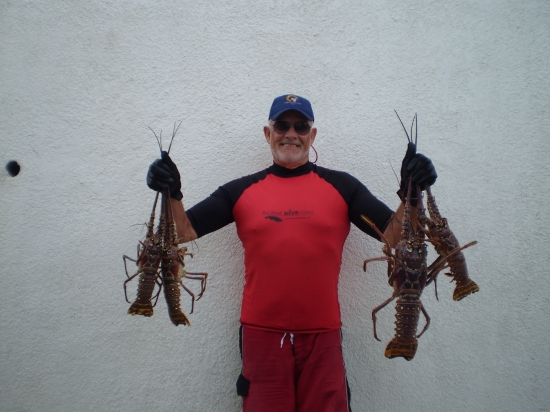 #84 HAROLD THORNTON WITH 4 LITTLE LOBSTERS OR BIG CRAWDADS