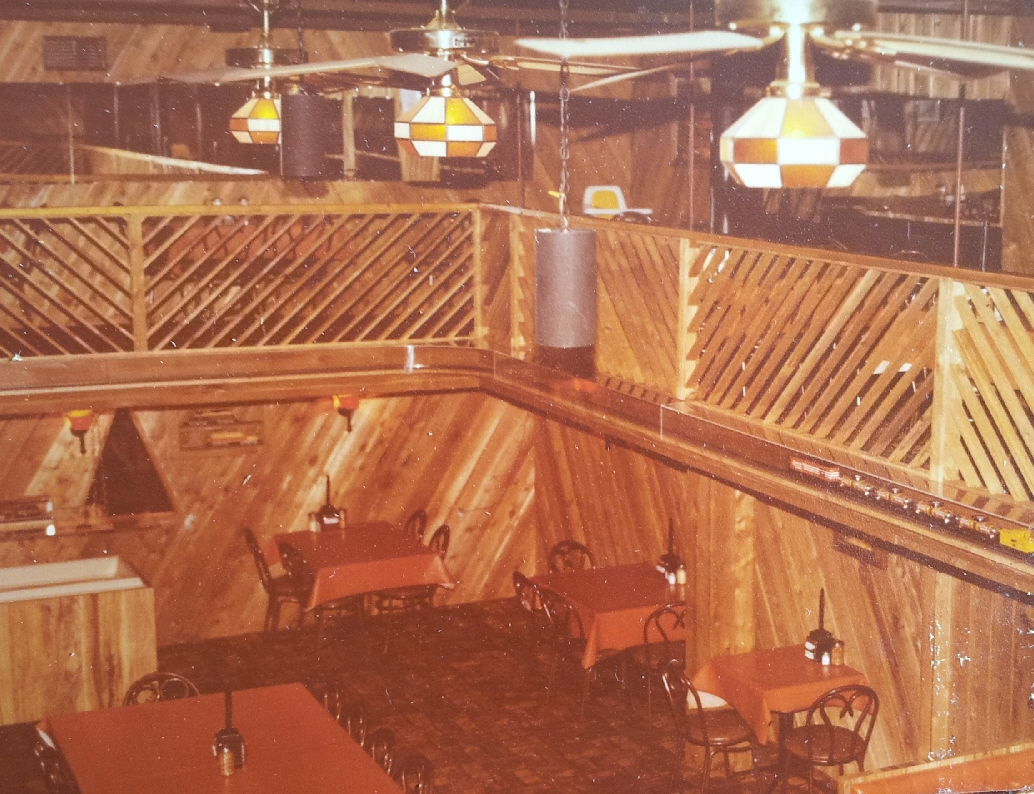THE LOFT IN THE 1980'S LINDENLOFT THAT SEATED 225 PEOPLE. NOTICE THE ELECTRIC TRAIN BETWEEN BOTH LEVELS, THAT RAN 100 FEET AROUND THE BALCONY, WHEN THE KIDS PUSHED A BUTTON UPSTAIRS OR DOWNSTAIRS