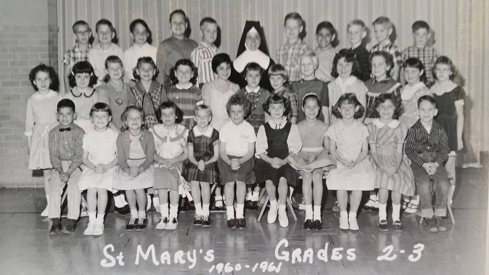 #73 P4 ST. MARY'S PARSONS, KS GRADES 1&2 1960/61 MANY MORE SCHOOL PICTURES AT PICTURE #101 BELOW