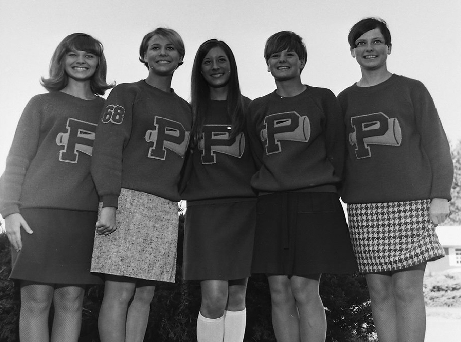 #8 PARSONS VIKINGS CHEERLEADERS 1968 Parsons Cheerleaders, Pam Willis, Patti Tippet, Martha Maier, Christy Stine, & T. J. Austin's sister Nancy Austin far right, Nancy's husband's obituary below