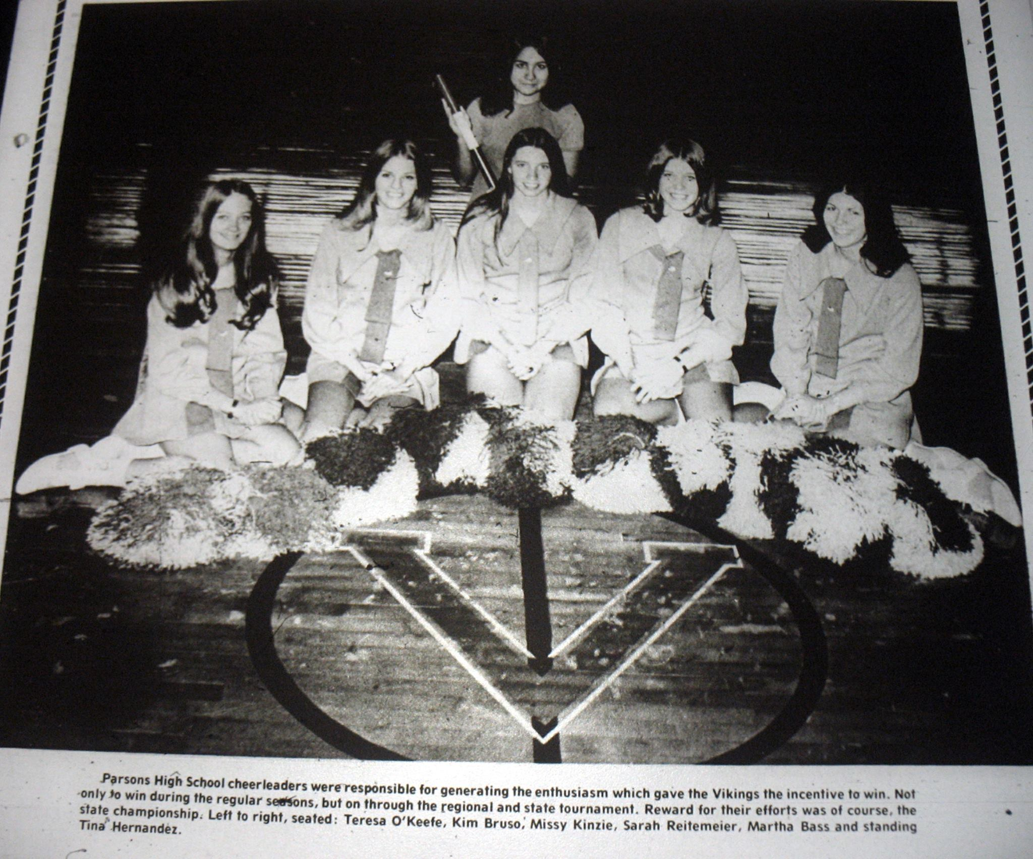 #7 P3  Cheerleaders for Parsons High School's 1973 State Champion Basketball Team