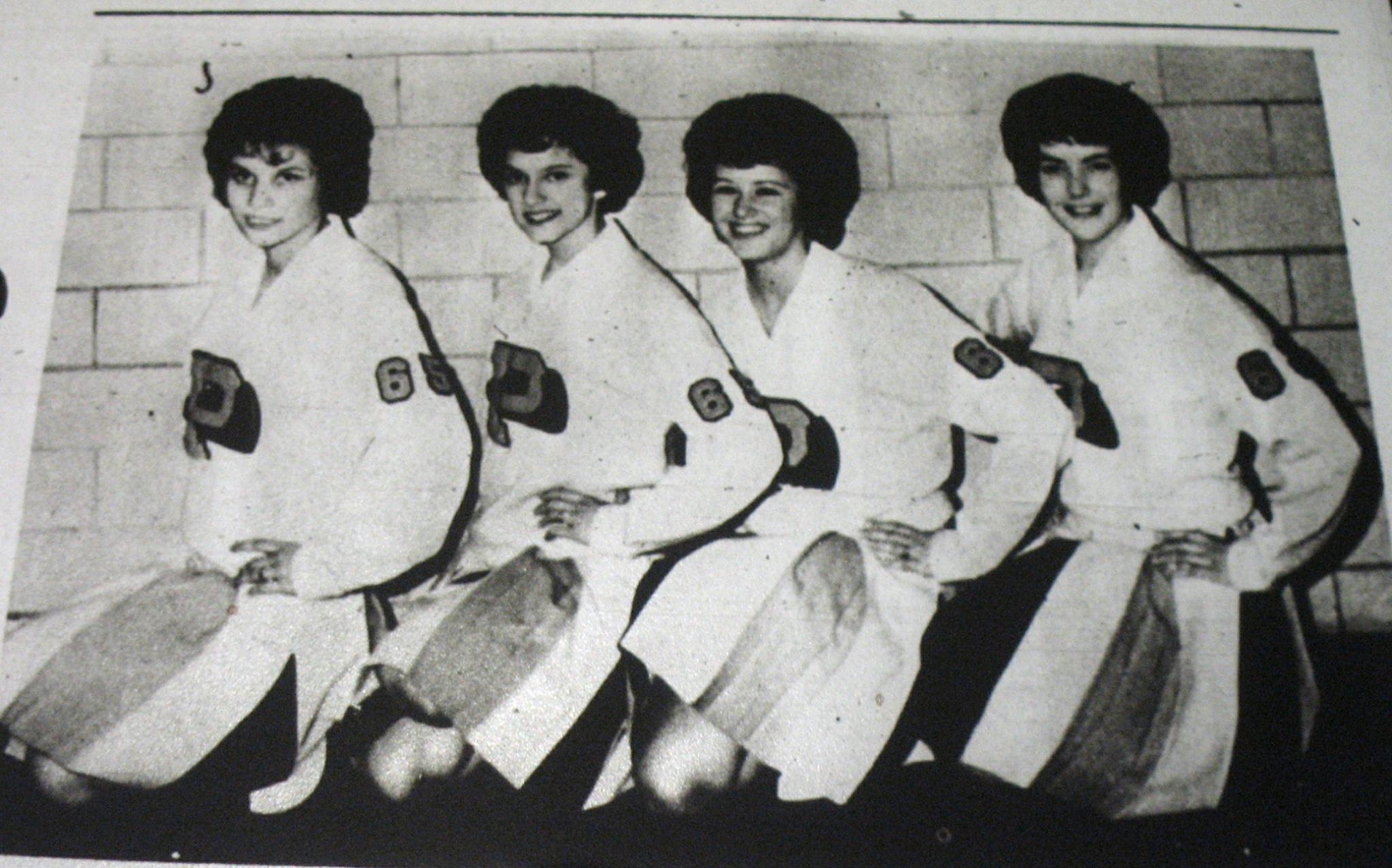 #74 Susan Boner, Barbara Cole, Judy Dwyer, Paula Flynn, Parsons St. Patricks H. S. Cheerleaders