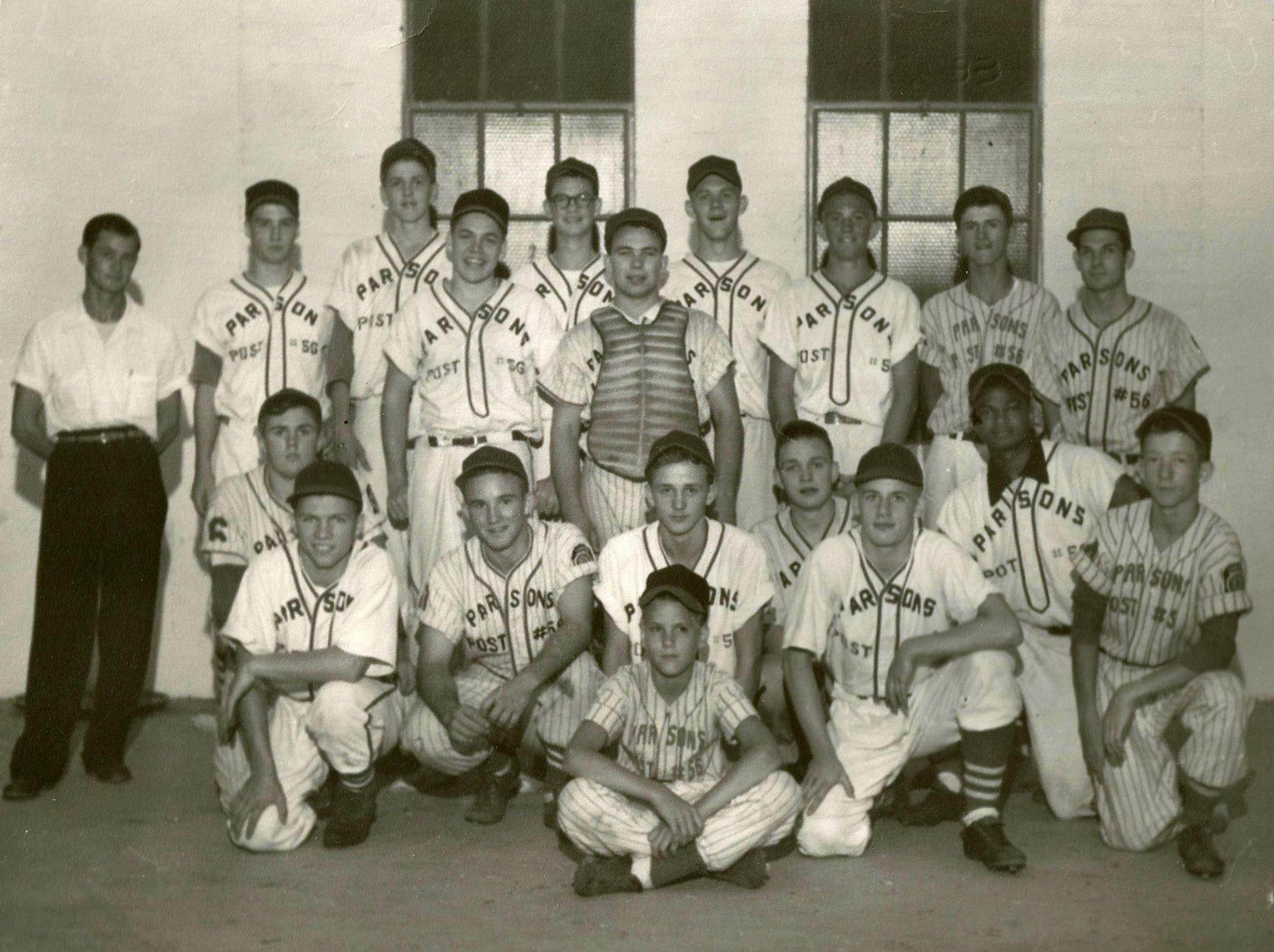 #43 PARSONS 1956 AMERICAN LEGION CHAMPIONSHIP BASEBALL TEAM - THE ST. LOUIS CARDINALS IN PARSONS KANSAS IN 1918