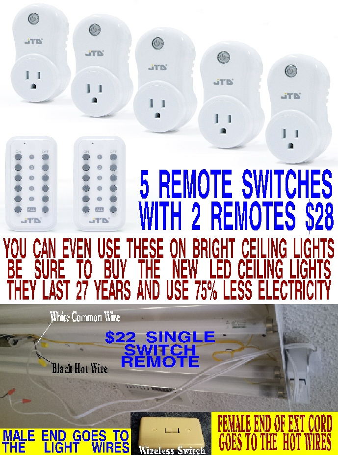 #107 WIRELESS REMOTE LIGHT SWITCH TIMES 5