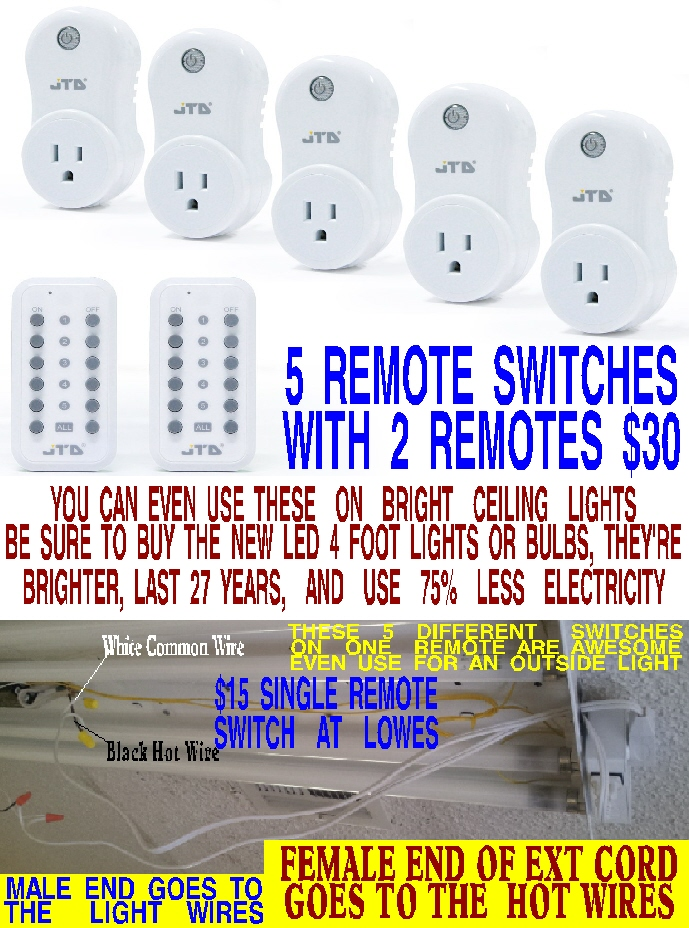 #2 WIRELESS REMOTE LIGHT SWITCH FOR 5 DIFFERENT ROOMS WITH 2 REMOTES ONLY $30 WITH 1 DAY FREE SHIPPING FROM AMAZON PRIME. EVERYONE NEEDS ONE OF THESE. THEY'RE AWESOME. FOR BIG WALL MOUNTED PORTABLE WALL SWITCH CLICK PICTURE