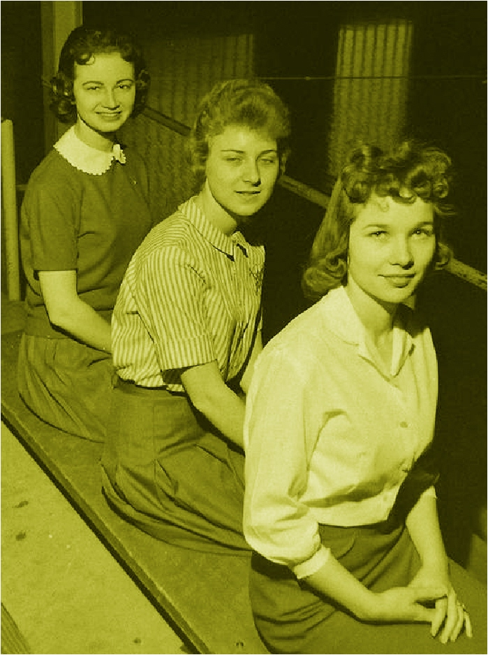 #72 ST. PATS 1961 QUEEN CANDIDATES L-R JUDY FINNERTY, MARY ANN DERVONISH FORBES, MARY ANN BONER
