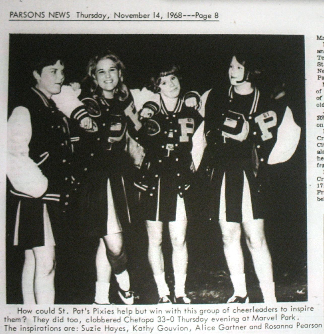 #76 St. Pats Cheerleaders 1968