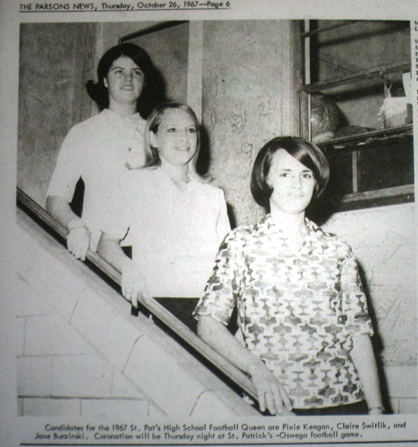 #65 St. Pats Football Queen Candidates 1967