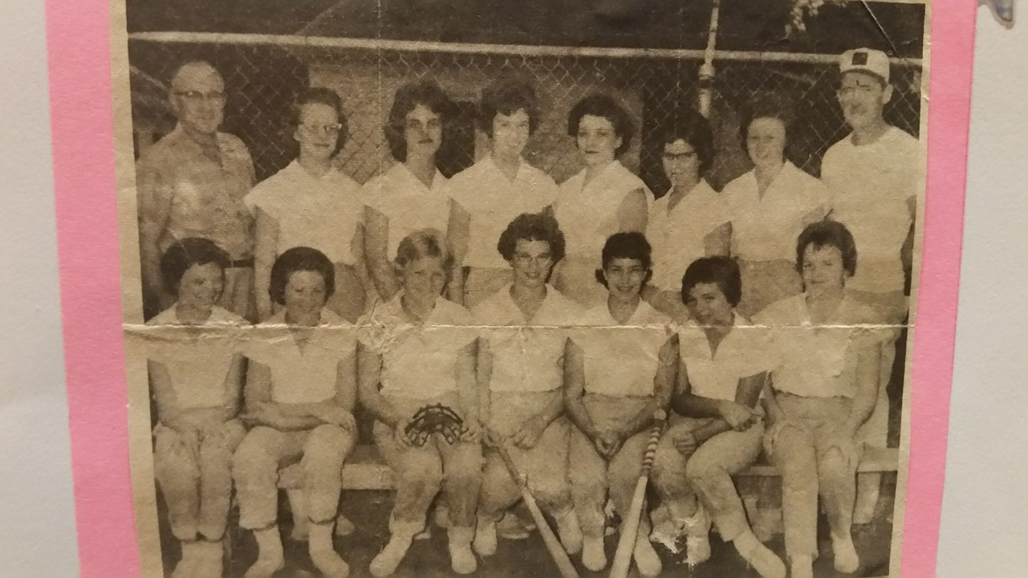 #67 DEE ANN NUNNICK FRONT ROW 3rd FROM LEFT ST. PATS SOFTBALL TEAM 1962