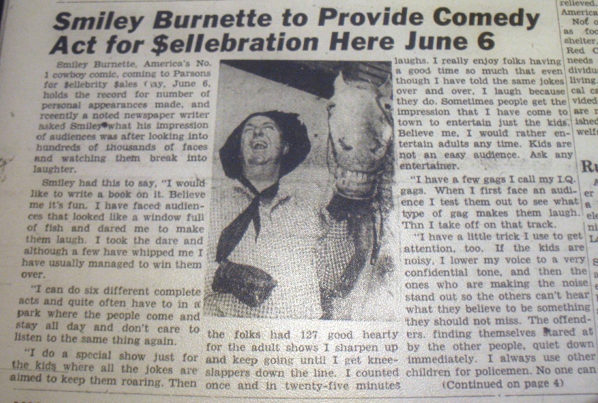 #115 SMILEY BURNETTE VISITS PARSONS DRIVE IN 1953