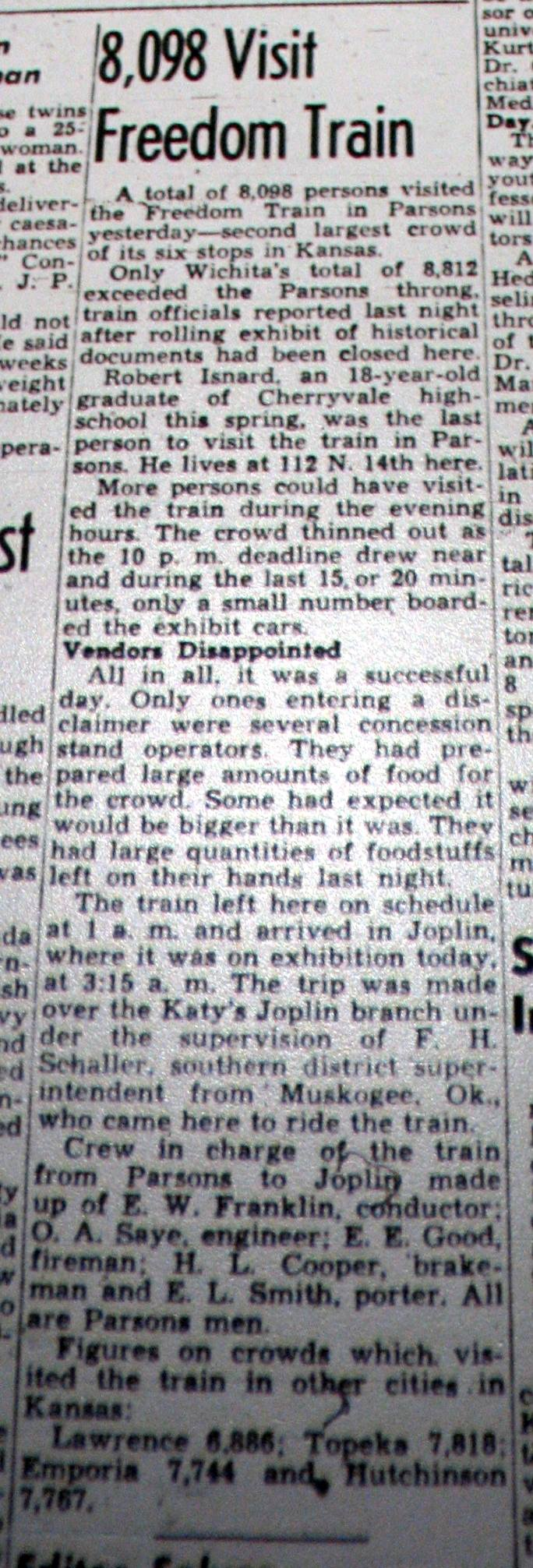 #143 STEVE COOPER'S DAD, D B COOPER, IS PART OF THE KATY TRAIN CREW IN THIS NEWSPAPER CLIPPING near the bottom OR MAYBE H. L. COOPER