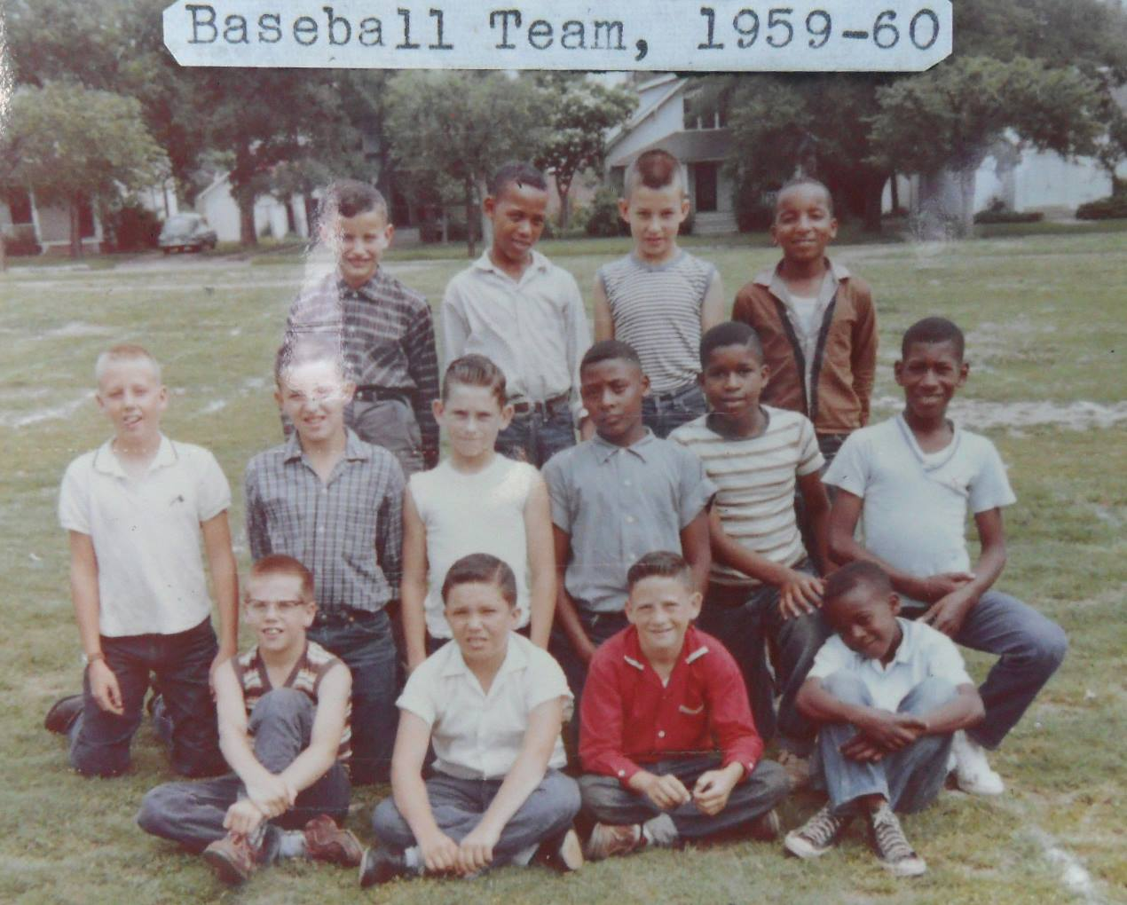 #119 1959-60 McKinley School Softball Team, ROD PHILLIPS FRONT ROW LEFT, PIANO PLAYER FOR JIM STAFFORD & MICHEAL MARTIN MURPHY BANDS