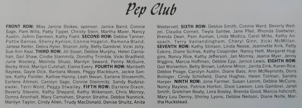 #35 PEP CLUB NAMES