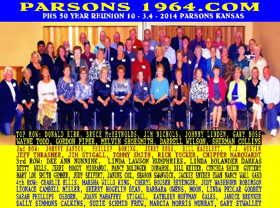 #10 IMPROVED COLOR PICTURE OF 50 YEAR REUNION OF THE PARSONS CLASS OF 1964 WITH NAMES - INVENTIONS THAT CHANGED THE WORLD - 110 CLASSIC SONGS