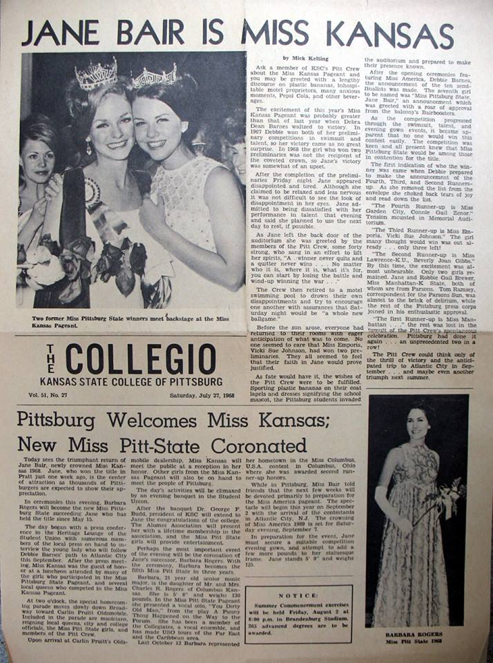 #4 Miss Kansas 1967 and Miss America 1968 Debbie Barnes crowns Miss Kansas 1968, Jane Bare from Parsons. Robbie Brewer also from Parsons is first runnerup