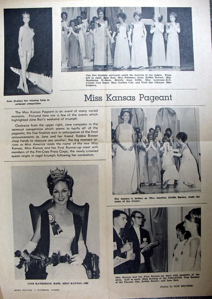 #92 PARSONS GIRLS JANE BAIR AND ROBBIE BREWER FAR LEFT HOLDING HANDS AND FINISH 1 & 2 FOR 1968 MISS KANSAS CROWN