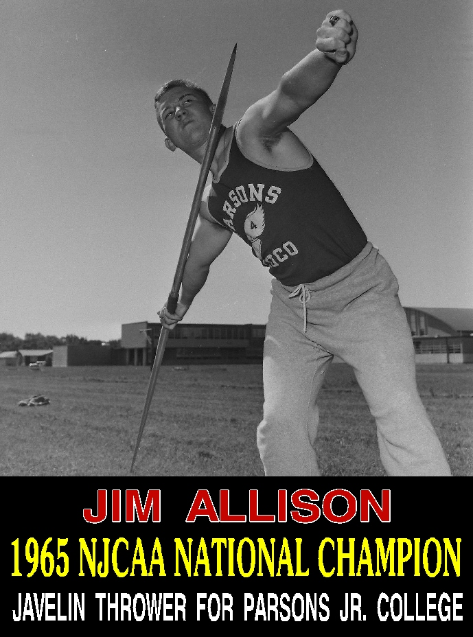 #53 JIM ALLISON 1965 NJCAA NATIONAL CHAMPION JAVELIN THROWER FROM PJC