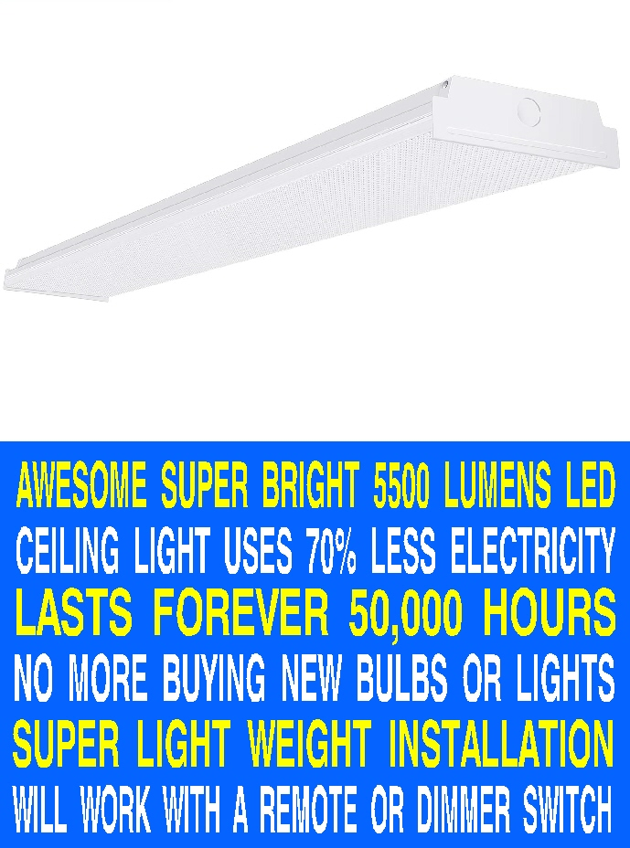 #5 NEW SUPER BRIGHT 5500 LUMENS LIGHT WEIGHT AWESOME CEILING LIGHTS USE 70% LESS ELECTRICITY AND LAST 50,000 HOURS COST $127 AT LOWES ONLY $51 AT AMAZON