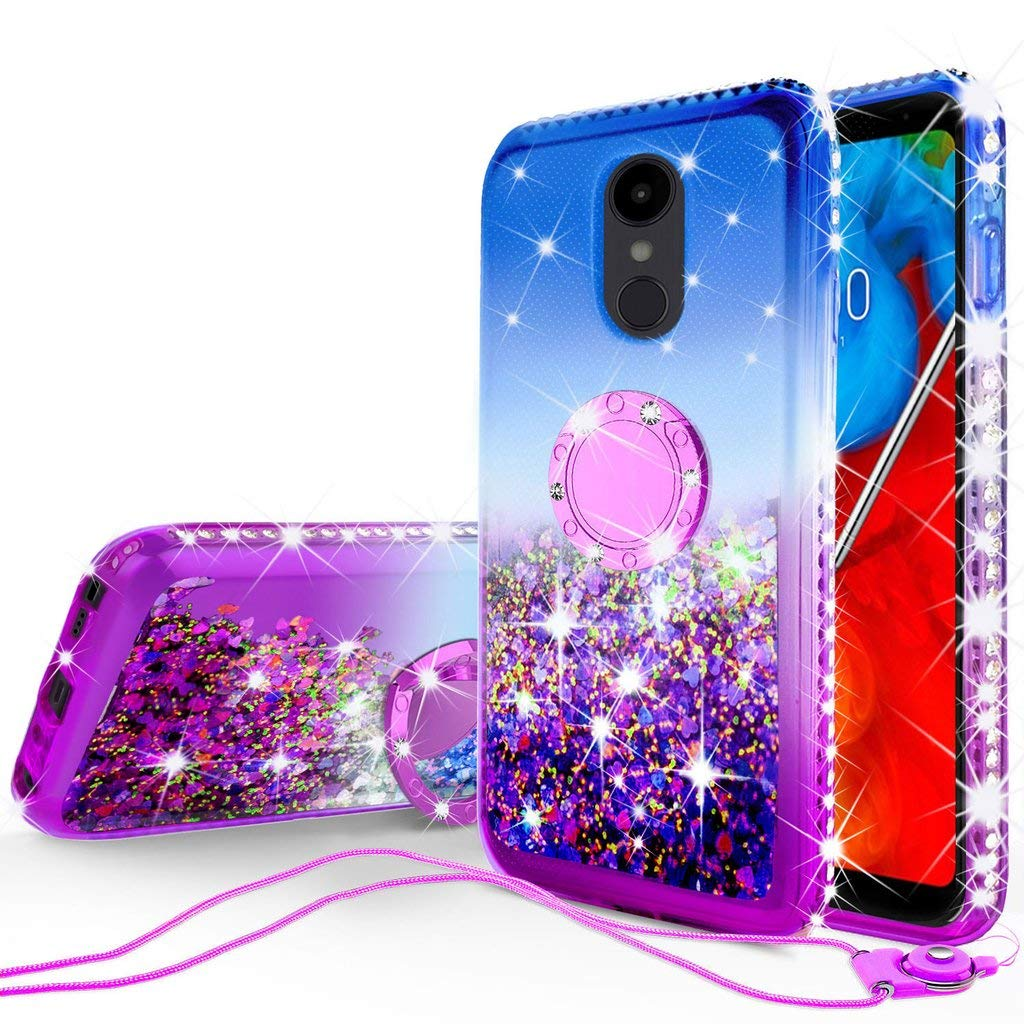 #10 Liquid Glitter Cute Phone Case Kickstand for LG Stylo 5 / Stylo 5 Plus Case Clear Bling Diamond Bumper Ring Stand $12