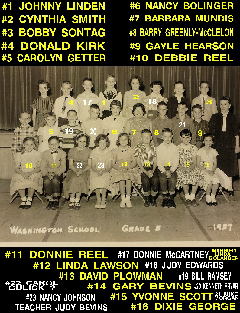 #11 P4  WASHINGTON GRADE SCHOOL, 5th GRADE, 1957 - IF ANYONE REMEMBERS THE TEACHERS NAME, PLEASE EMAIL IT TO JOHNNY