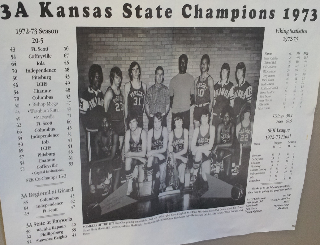 #12 P3 BASKETBALL STATE CHAMPION PARSONS VIKINGS 1973