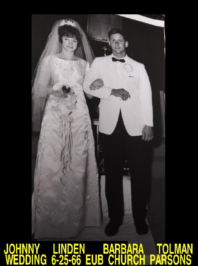 #125 JOHNNY LINDEN BARBARA TOLMAN WEDDING PARSONS KANSAS EUB CHURCH 6-25-66 BARBARA HELEN CATHIE TOLMAN PICTURE COMING SOON