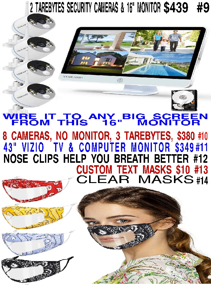 #4 SEVERAL DIFFERENT FABRICS IN ASSORTED COLORS OF CLEAR FACE MASKS 4 FOR $20 - AWESOME 2 TARABITE 3 MEGAPIXEL 100 FT. FLOODLIGHT COLOR NIGHT VISION 2 WAY TALK WITH ALARM YESKAMO SECURITY SYSTEM $439